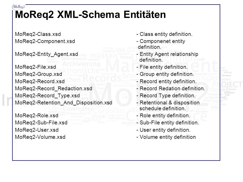 MoReq2 XML-Schema Entitäten MoReq2-Class.xsd- Class entity definition. MoReq2-Component.xsd- Componenet entity definition. MoReq2-Entity_Agent.xsd- En