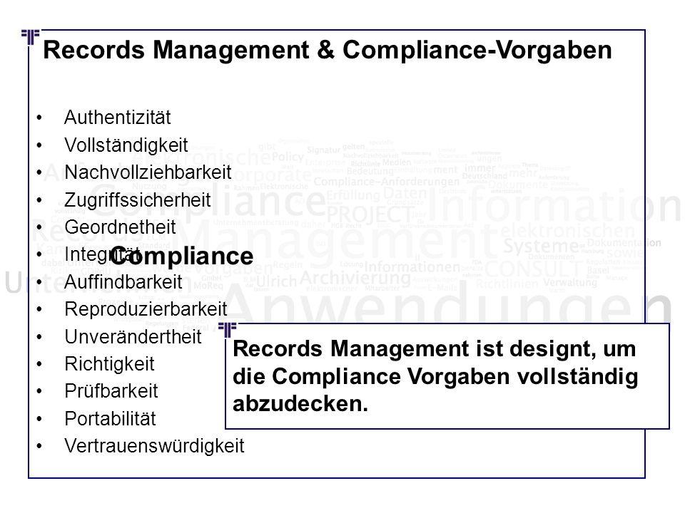 Records Management & Compliance-Vorgaben Authentizität Vollständigkeit Nachvollziehbarkeit Zugriffssicherheit Geordnetheit Integrität Auffindbarkeit R