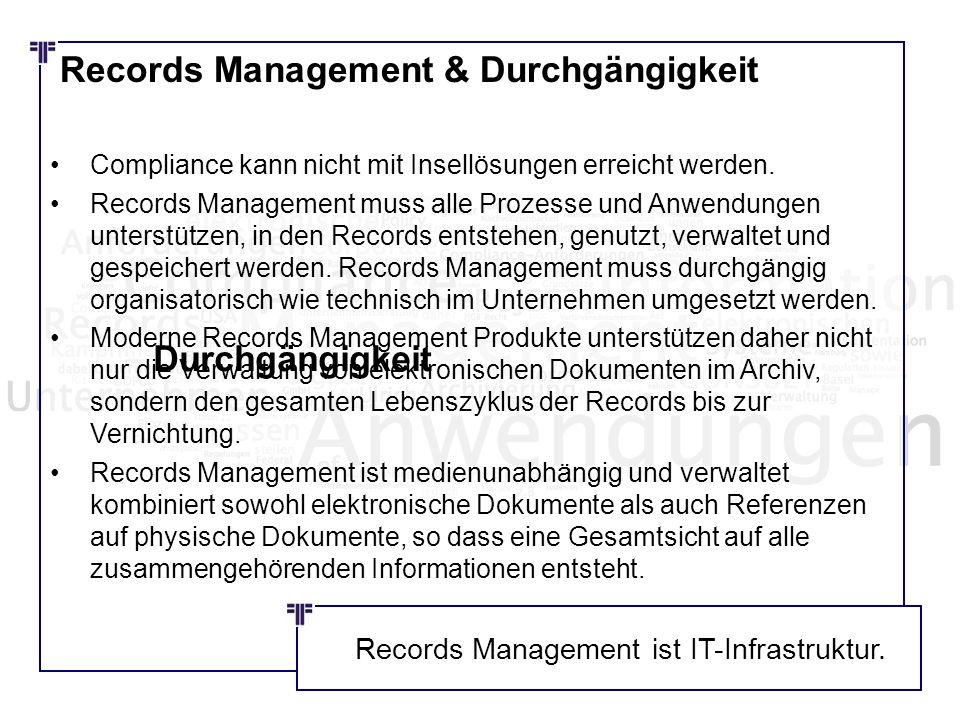 Records Management & Durchgängigkeit Compliance kann nicht mit Insellösungen erreicht werden. Records Management muss alle Prozesse und Anwendungen un