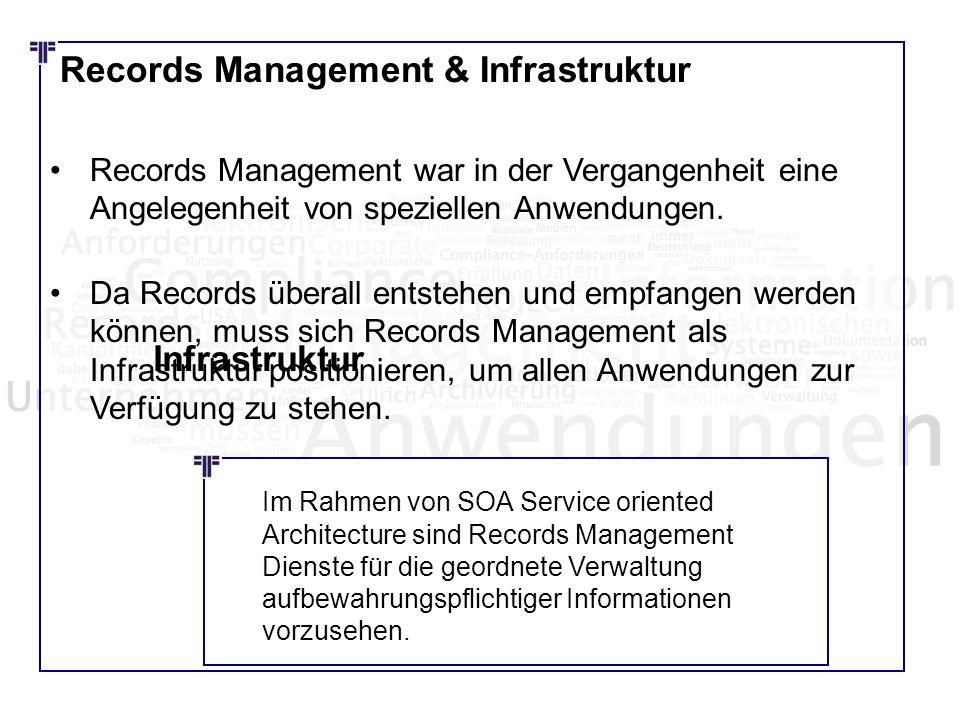 Records Management & Infrastruktur Records Management war in der Vergangenheit eine Angelegenheit von speziellen Anwendungen. Da Records überall entst