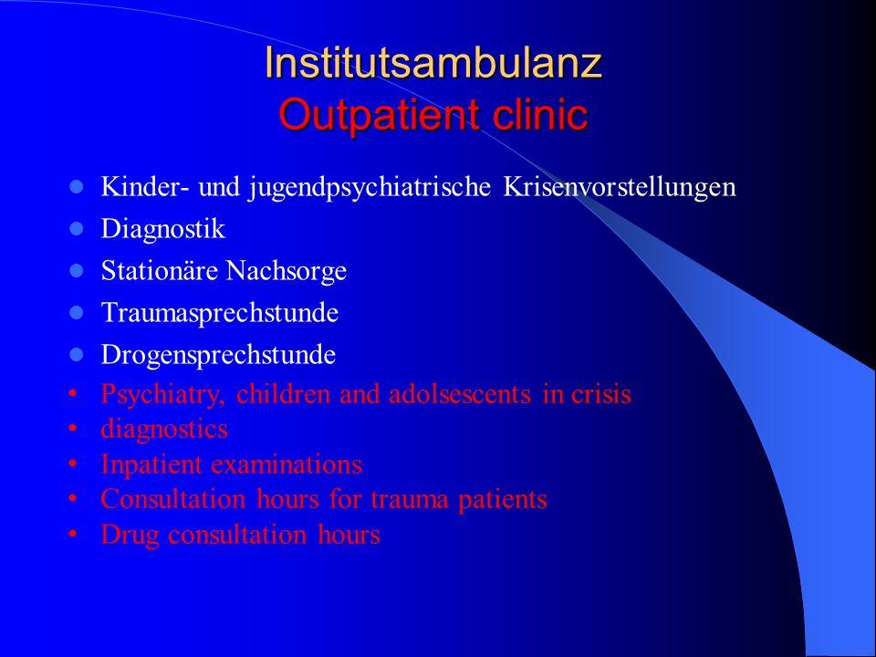 Institutsambulanz Outpatient clinic Kinder- und jugendpsychiatrische Krisenvorstellungen Diagnostik Stationäre Nachsorge Traumasprechstunde Drogenspre