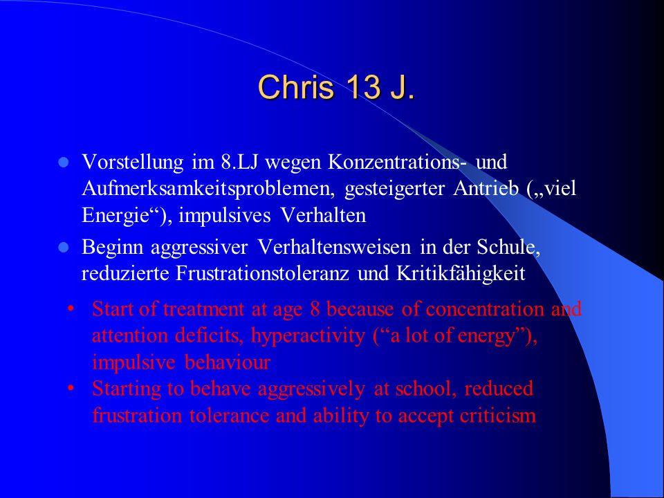 Chris 13 J. Chris 13 J. Vorstellung im 8.LJ wegen Konzentrations- und Aufmerksamkeitsproblemen, gesteigerter Antrieb (viel Energie), impulsives Verhal
