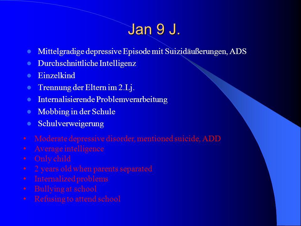 Jan 9 J. Jan 9 J. Mittelgradige depressive Episode mit Suizidäußerungen, ADS Durchschnittliche Intelligenz Einzelkind Trennung der Eltern im 2.Lj. Int
