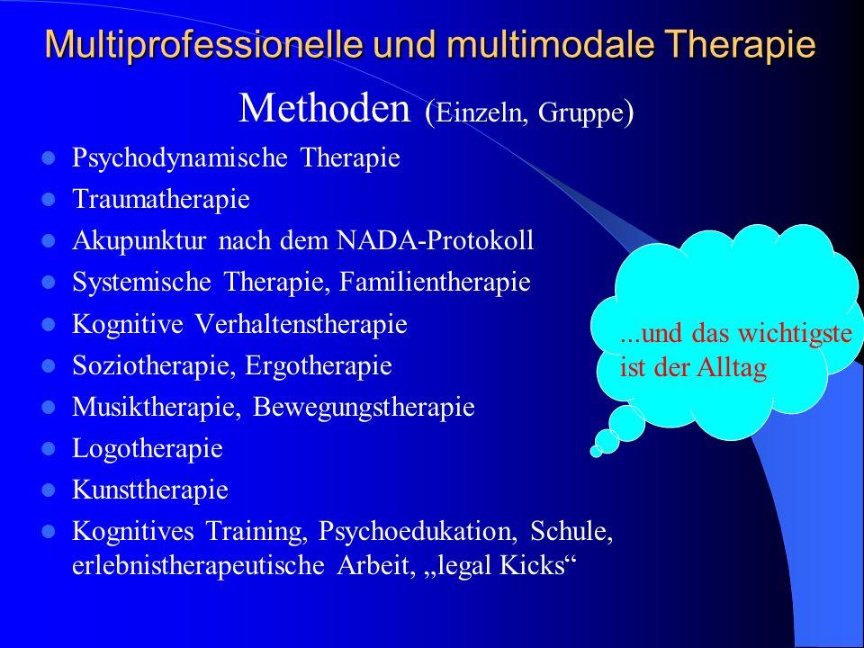 Multiprofessionelle und multimodale Therapie Methoden ( Einzeln, Gruppe ) Psychodynamische Therapie Traumatherapie Akupunktur nach dem NADA-Protokoll