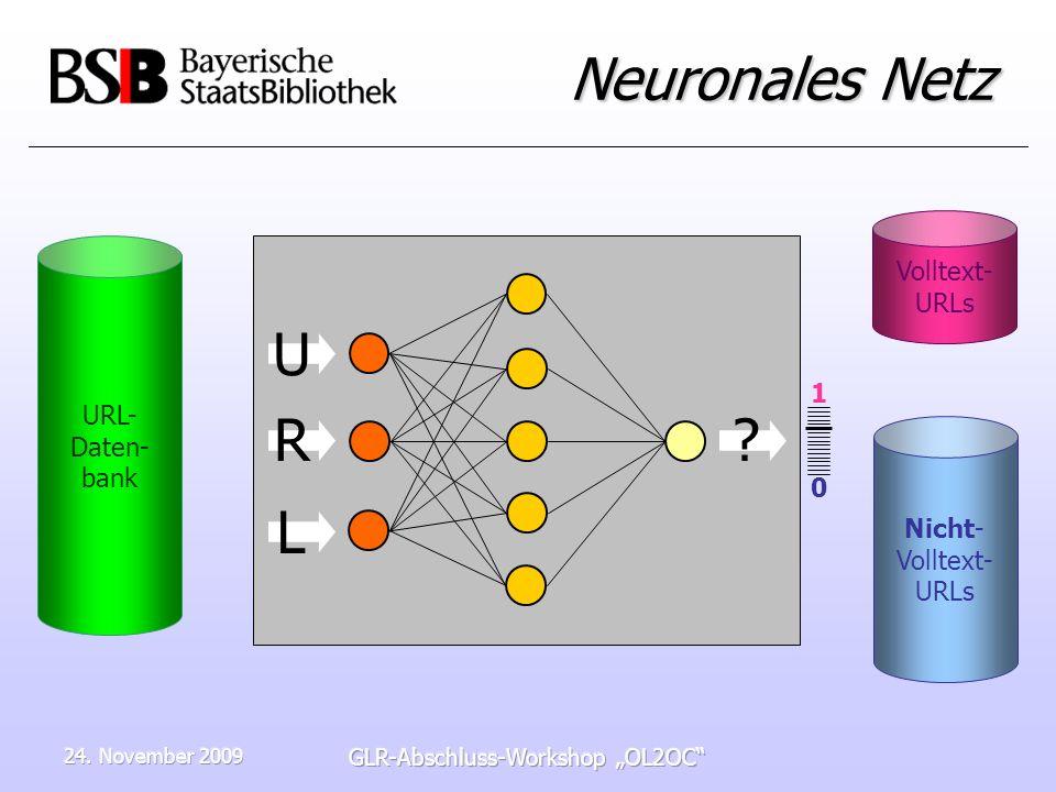 24. November 2009 GLR-Abschluss-Workshop OL2OC Neuronales Netz URL- Daten- bank Nicht- Volltext- URLs Volltext- URLs ? R L U 1010