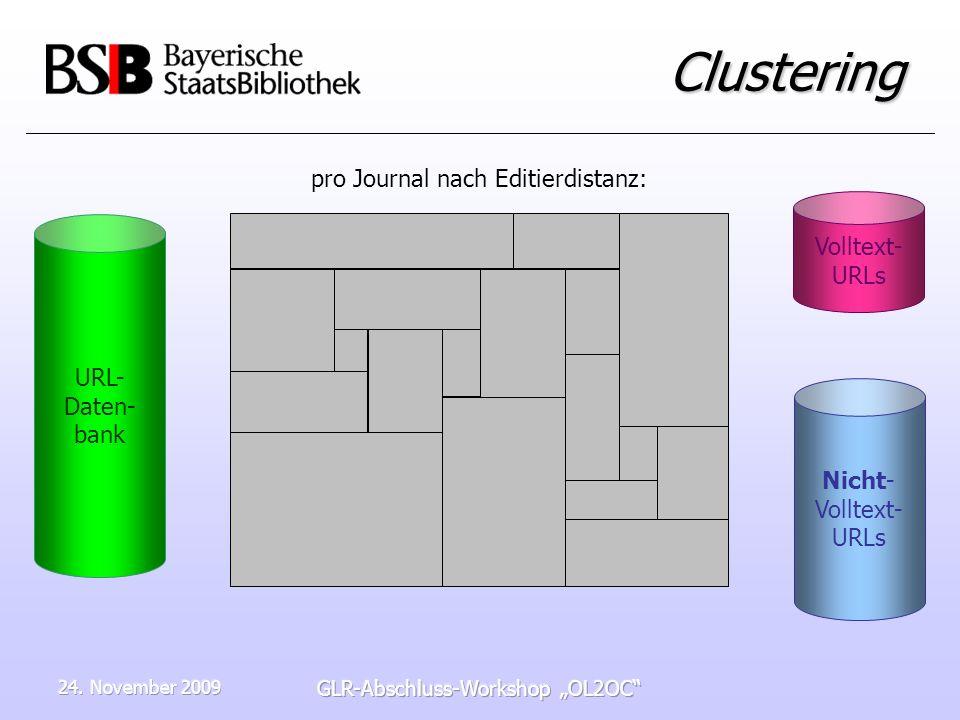 24. November 2009 GLR-Abschluss-Workshop OL2OC Clustering URL- Daten- bank Nicht- Volltext- URLs Volltext- URLs pro Journal nach Editierdistanz: