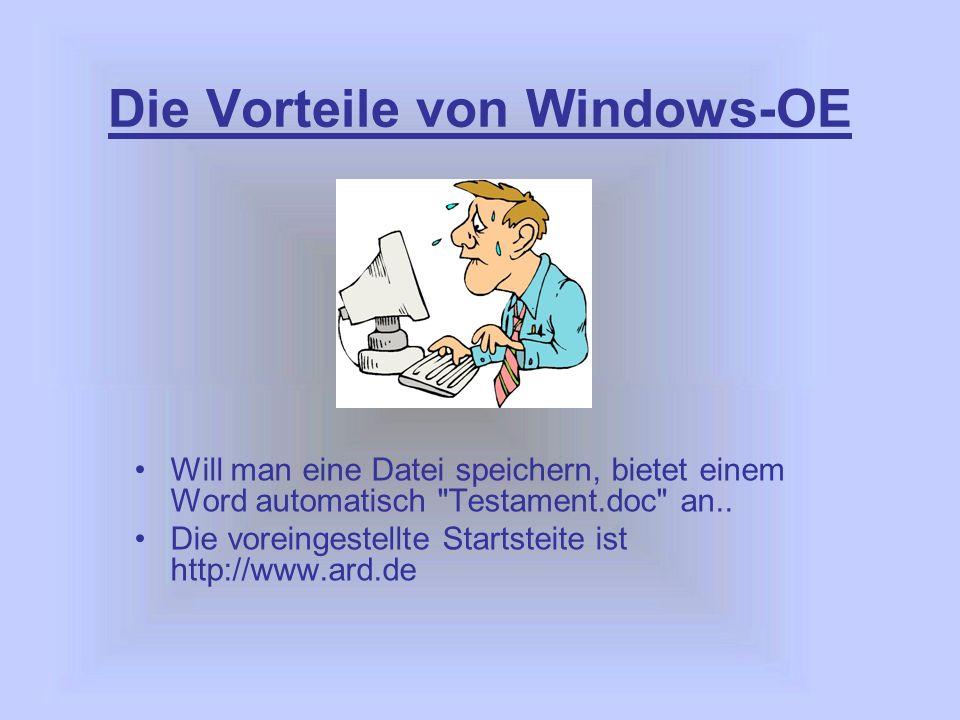 Die Vorteile von Windows-OE Will man eine Datei speichern, bietet einem Word automatisch Testament.doc an..