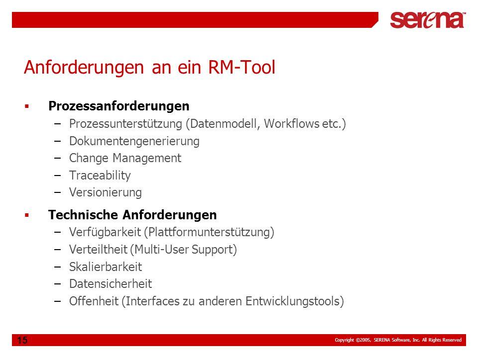 Copyright ©2005, SERENA Software, Inc. All Rights Reserved 15 Anforderungen an ein RM-Tool Prozessanforderungen –Prozessunterstützung (Datenmodell, Wo