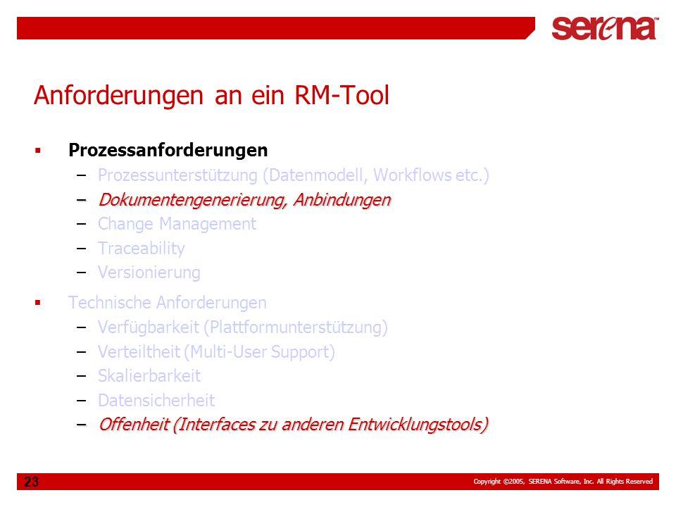 Copyright ©2005, SERENA Software, Inc. All Rights Reserved 23 Anforderungen an ein RM-Tool Prozessanforderungen –Prozessunterstützung (Datenmodell, Wo