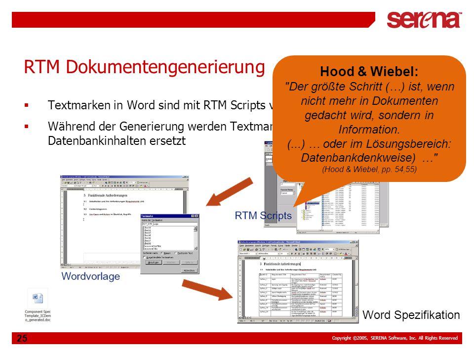 Copyright ©2005, SERENA Software, Inc. All Rights Reserved 25 RTM Dokumentengenerierung Textmarken in Word sind mit RTM Scripts verbunden Während der