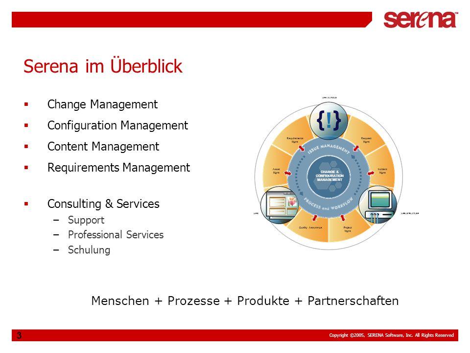 Copyright ©2005, SERENA Software, Inc. All Rights Reserved 3 Serena im Überblick Change Management Configuration Management Content Management Require