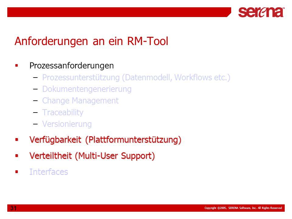 Copyright ©2005, SERENA Software, Inc. All Rights Reserved 31 Anforderungen an ein RM-Tool Prozessanforderungen –Prozessunterstützung (Datenmodell, Wo