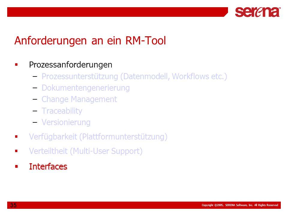 Copyright ©2005, SERENA Software, Inc. All Rights Reserved 35 Anforderungen an ein RM-Tool Prozessanforderungen –Prozessunterstützung (Datenmodell, Wo