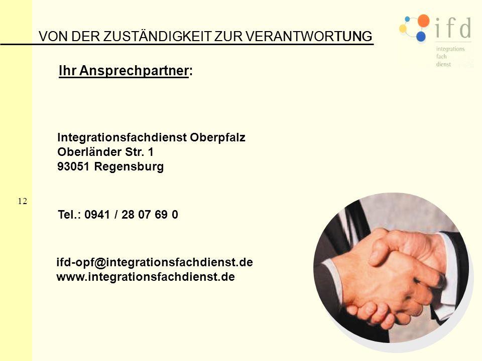 12 VON DER ZUSTÄNDIGKEIT ZUR VERANTWORTUNG Ihr Ansprechpartner: Integrationsfachdienst Oberpfalz Oberländer Str. 1 93051 Regensburg Tel.: 0941 / 28 07
