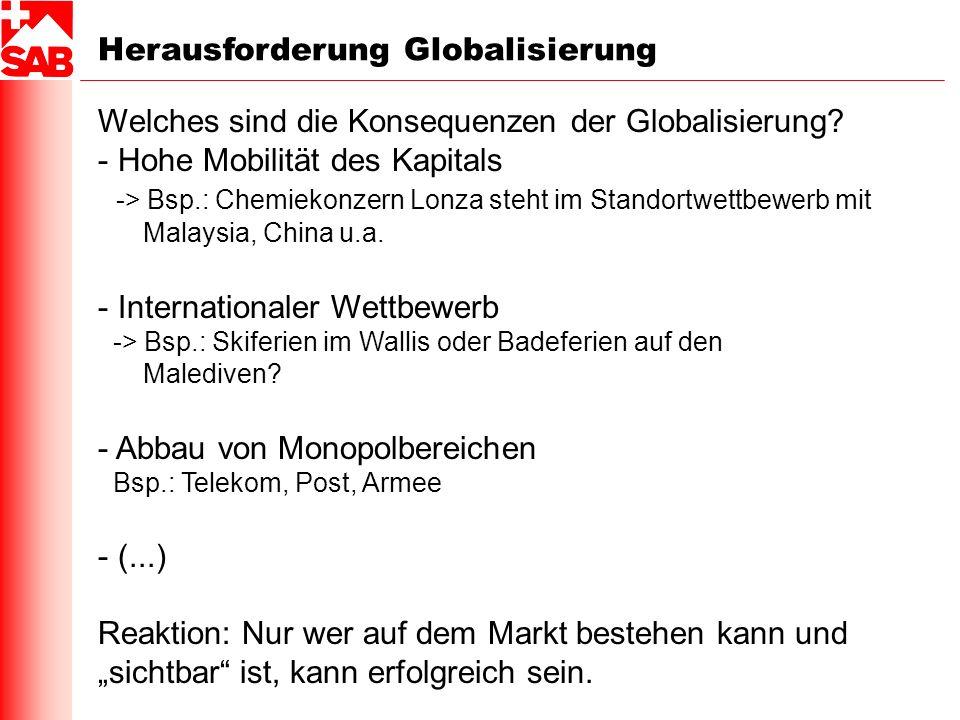 Herausforderung Globalisierung Welches sind die Konsequenzen der Globalisierung? - Hohe Mobilität des Kapitals -> Bsp.: Chemiekonzern Lonza steht im S