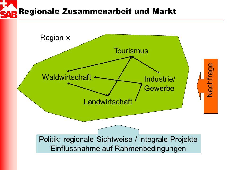 Regionale Zusammenarbeit und Markt Region x Waldwirtschaft Landwirtschaft Tourismus Industrie/ Gewerbe Nachfrage Politik: regionale Sichtweise / integ