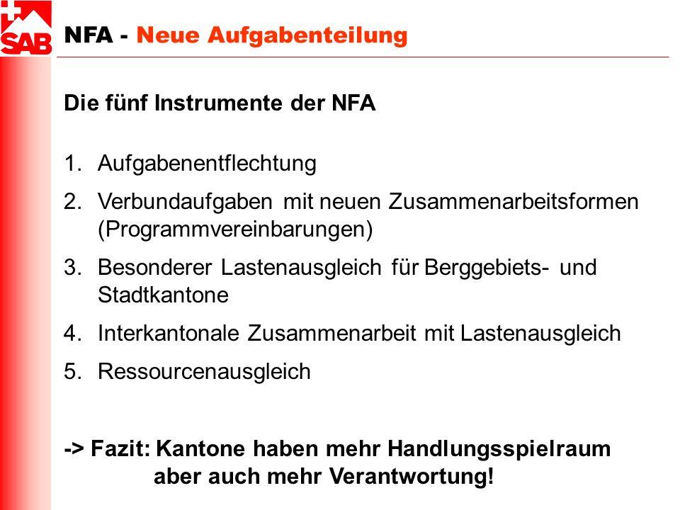 NFA - Neue Aufgabenteilung Die fünf Instrumente der NFA 1.Aufgabenentflechtung 2.Verbundaufgaben mit neuen Zusammenarbeitsformen (Programmvereinbarung