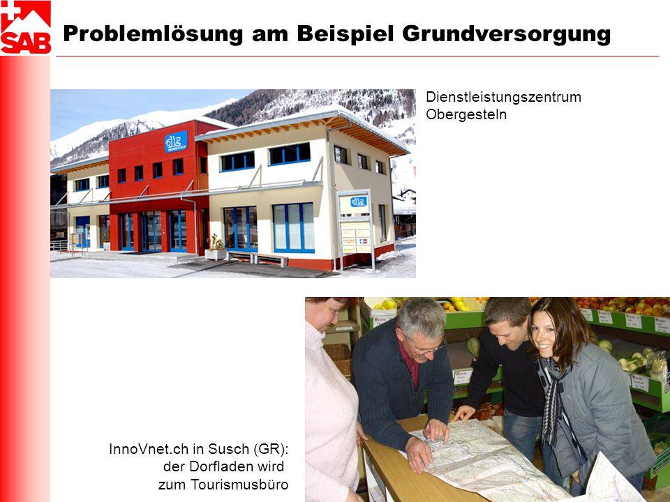 Problemlösung am Beispiel Grundversorgung Dienstleistungszentrum Obergesteln InnoVnet.ch in Susch (GR): der Dorfladen wird zum Tourismusbüro
