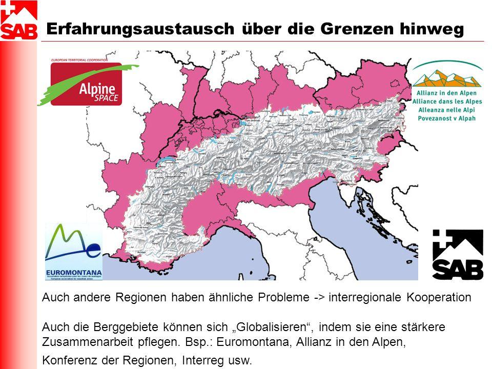 Erfahrungsaustausch über die Grenzen hinweg Auch andere Regionen haben ähnliche Probleme -> interregionale Kooperation Auch die Berggebiete können sic