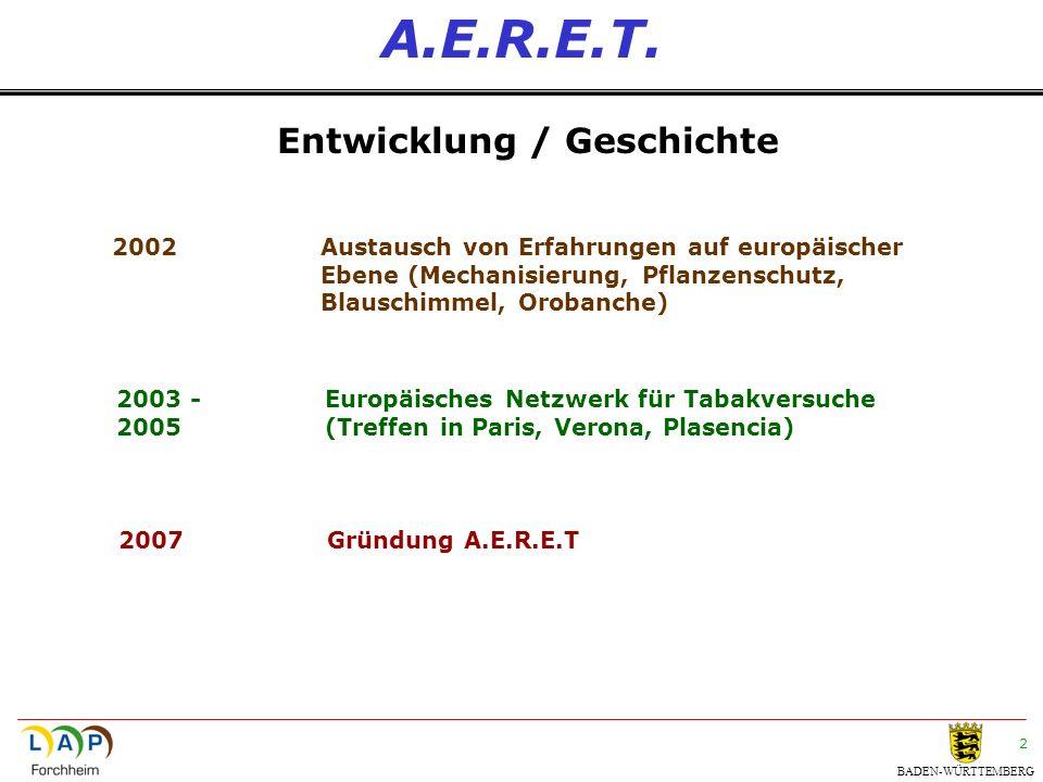 BADEN-WÜRTTEMBERG 2 A.E.R.E.T. Entwicklung / Geschichte 2002Austausch von Erfahrungen auf europäischer Ebene (Mechanisierung, Pflanzenschutz, Blauschi