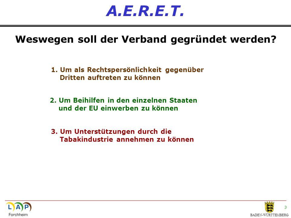 BADEN-WÜRTTEMBERG 3 A.E.R.E.T. Weswegen soll der Verband gegründet werden? 1. Um als Rechtspersönlichkeit gegenüber Dritten auftreten zu können 2. Um