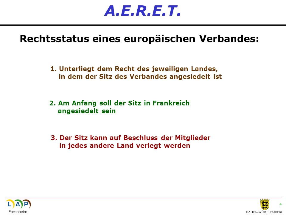 BADEN-WÜRTTEMBERG 15 A.E.R.E.T.