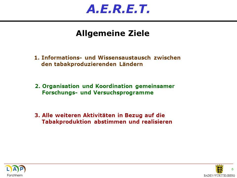 BADEN-WÜRTTEMBERG 6 A.E.R.E.T. Allgemeine Ziele 1. Informations- und Wissensaustausch zwischen den tabakproduzierenden Ländern 2. Organisation und Koo