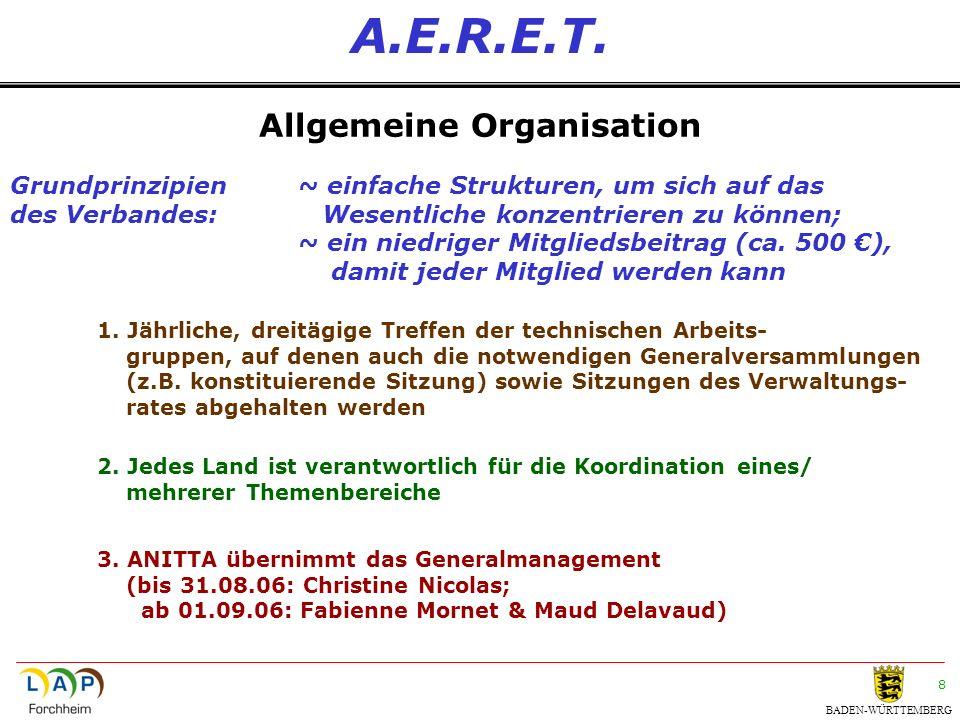 BADEN-WÜRTTEMBERG 8 A.E.R.E.T. Allgemeine Organisation 1. Jährliche, dreitägige Treffen der technischen Arbeits- gruppen, auf denen auch die notwendig