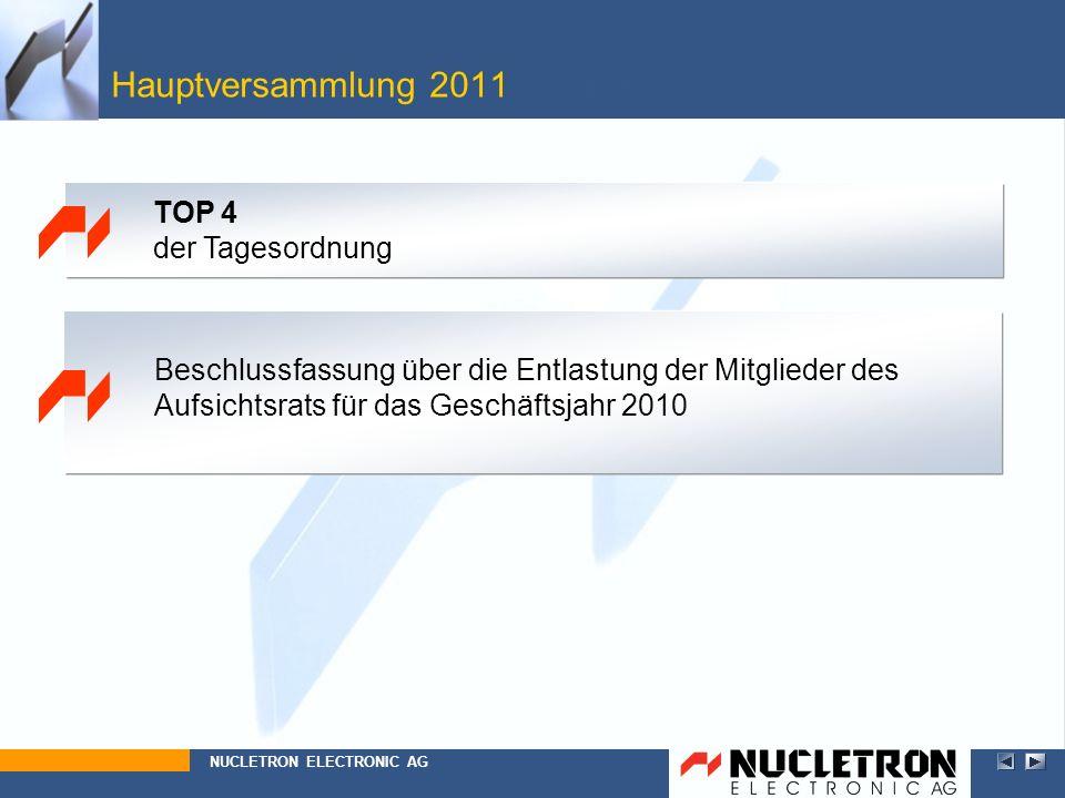 Hauptversammlung 2011 Top 4 Beschlussfassung über die Entlastung der Mitglieder des Aufsichtsrats für das Geschäftsjahr 2010 NUCLETRON ELECTRONIC AG T