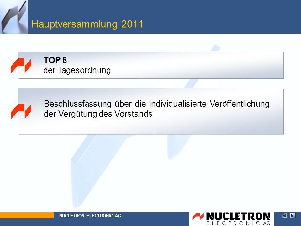 Beschlussfassung über die individualisierte Veröffentlichung der Vergütung des Vorstands Hauptversammlung 2011 Top 8 NUCLETRON ELECTRONIC AG TOP 8 der