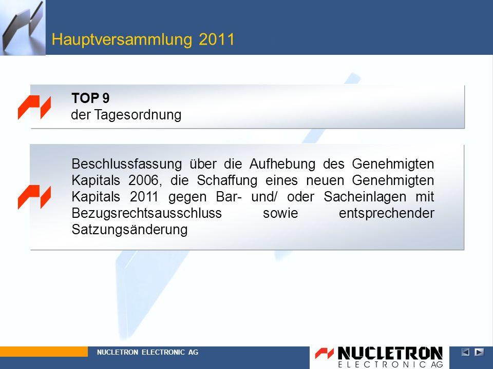Beschlussfassung über die Aufhebung des Genehmigten Kapitals 2006, die Schaffung eines neuen Genehmigten Kapitals 2011 gegen Bar- und/ oder Sacheinlag