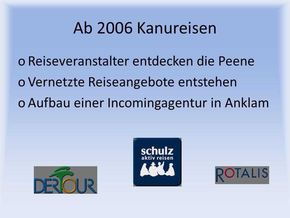 Ab 2006 Kanureisen oReiseveranstalter entdecken die Peene oVernetzte Reiseangebote entstehen oAufbau einer Incomingagentur in Anklam