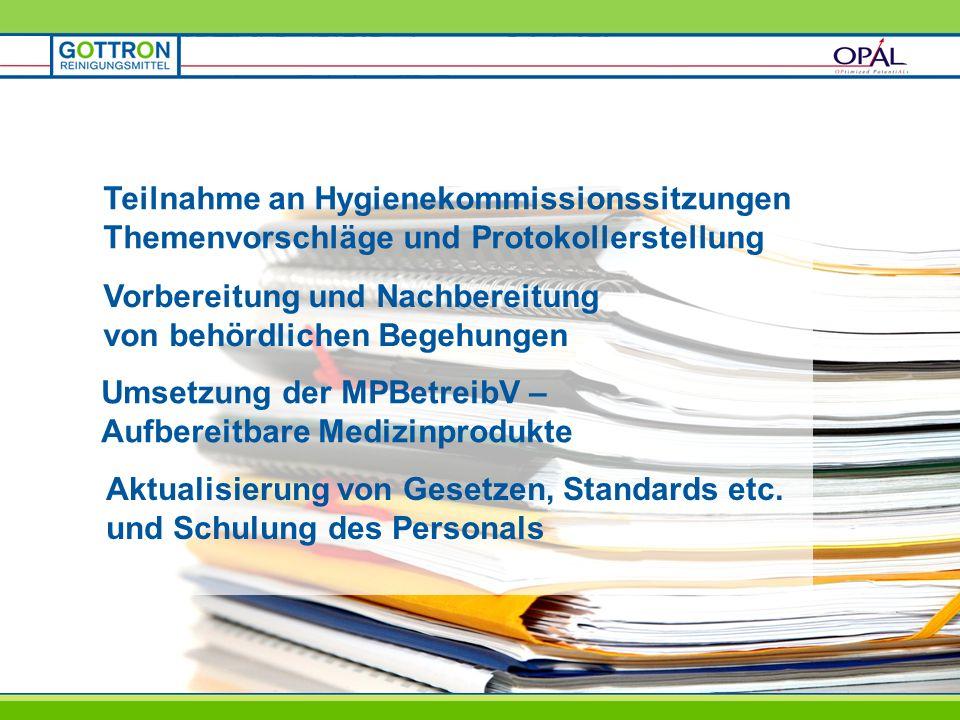 Vorbereitung und Nachbereitung von behördlichen Begehungen Umsetzung der MPBetreibV – Aufbereitbare Medizinprodukte Aktualisierung von Gesetzen, Stand