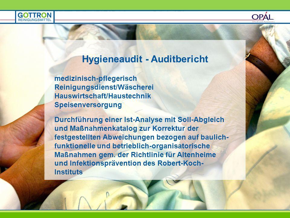 Hygieneaudit - Auditbericht medizinisch-pflegerisch Reinigungsdienst/Wäscherei Hauswirtschaft/Haustechnik Speisenversorgung Durchführung einer Ist-Ana