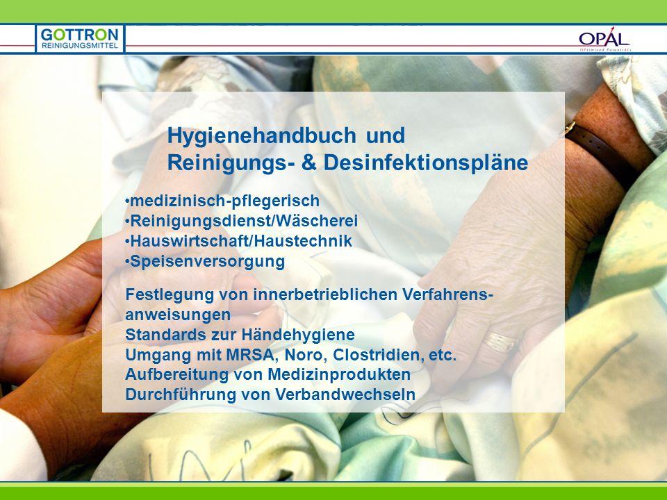 Hygienehandbuch und Reinigungs- & Desinfektionspläne medizinisch-pflegerisch Reinigungsdienst/Wäscherei Hauswirtschaft/Haustechnik Speisenversorgung F
