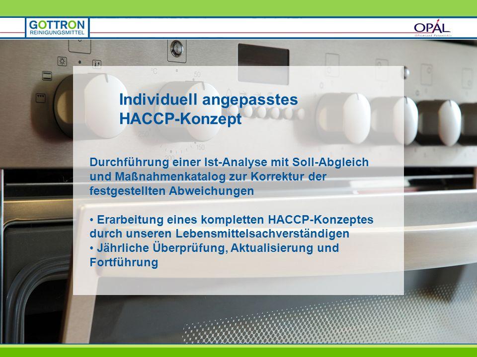 Individuell angepasstes HACCP-Konzept Durchführung einer Ist-Analyse mit Soll-Abgleich und Maßnahmenkatalog zur Korrektur der festgestellten Abweichun