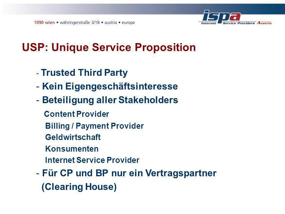 USP: Unique Service Proposition - Trusted Third Party - Kein Eigengeschäftsinteresse - Beteiligung aller Stakeholders Content Provider Billing / Payment Provider Geldwirtschaft Konsumenten Internet Service Provider - Für CP und BP nur ein Vertragspartner (Clearing House)