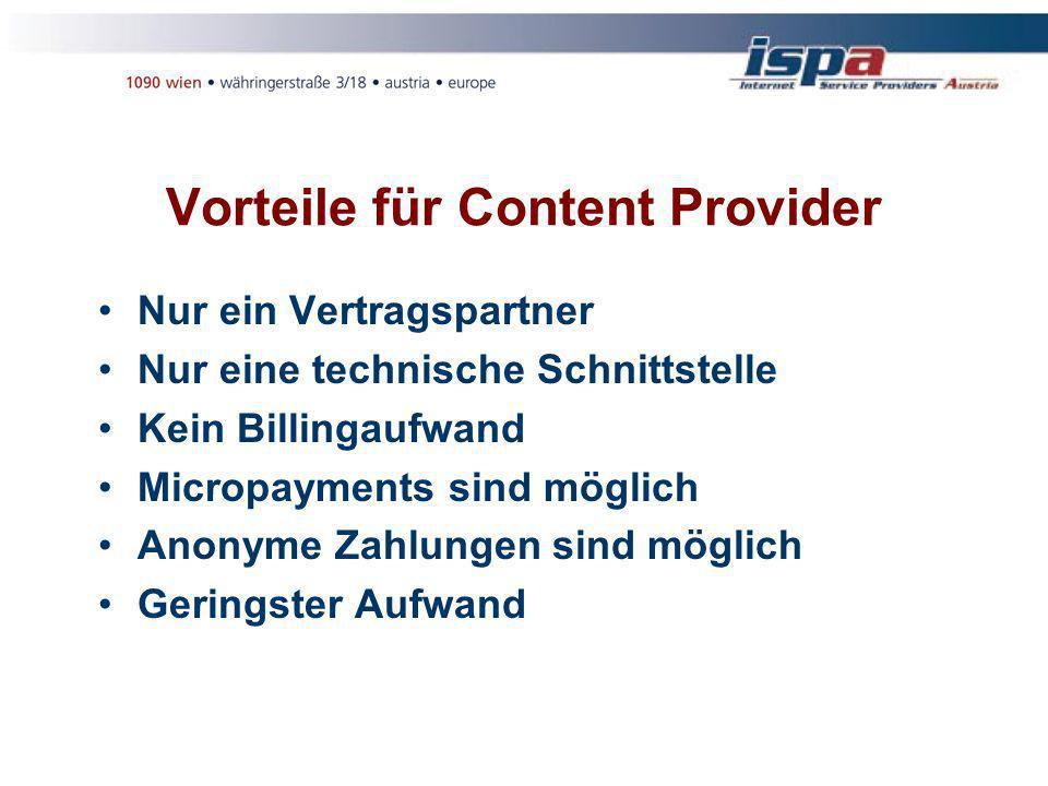 Vorteile für Content Provider Nur ein Vertragspartner Nur eine technische Schnittstelle Kein Billingaufwand Micropayments sind möglich Anonyme Zahlungen sind möglich Geringster Aufwand