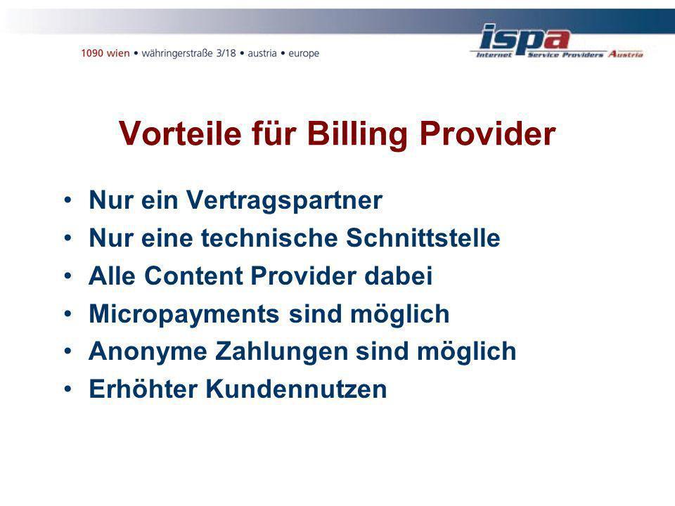 Vorteile für Billing Provider Nur ein Vertragspartner Nur eine technische Schnittstelle Alle Content Provider dabei Micropayments sind möglich Anonyme Zahlungen sind möglich Erhöhter Kundennutzen