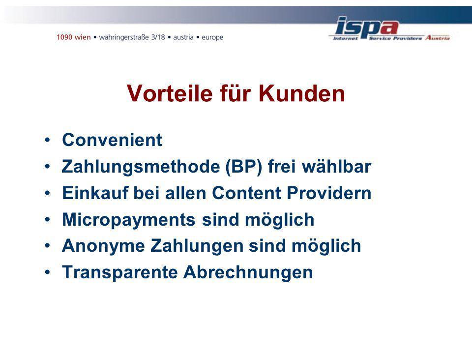 Vorteile für Kunden Convenient Zahlungsmethode (BP) frei wählbar Einkauf bei allen Content Providern Micropayments sind möglich Anonyme Zahlungen sind möglich Transparente Abrechnungen
