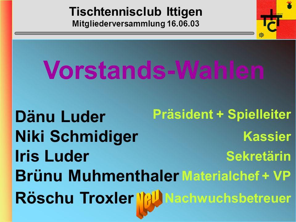 Tischtennisclub Ittigen Mitgliederversammlung 16.06.03 STTV-Cup (Fortsetzung) 1.