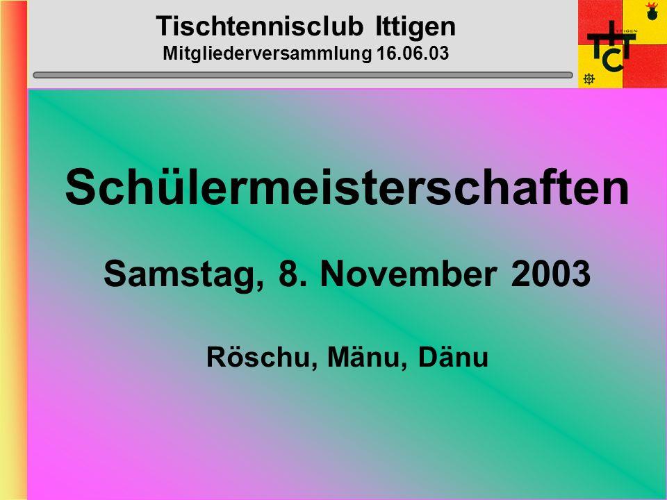 Tischtennisclub Ittigen Mitgliederversammlung 16.06.03 Top-Spin-Heft Sonntag, 24.