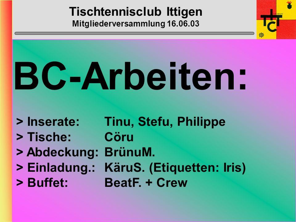 Tischtennisclub Ittigen Mitgliederversammlung 16.06.03 Bantiger-Cup Samstag, 31.