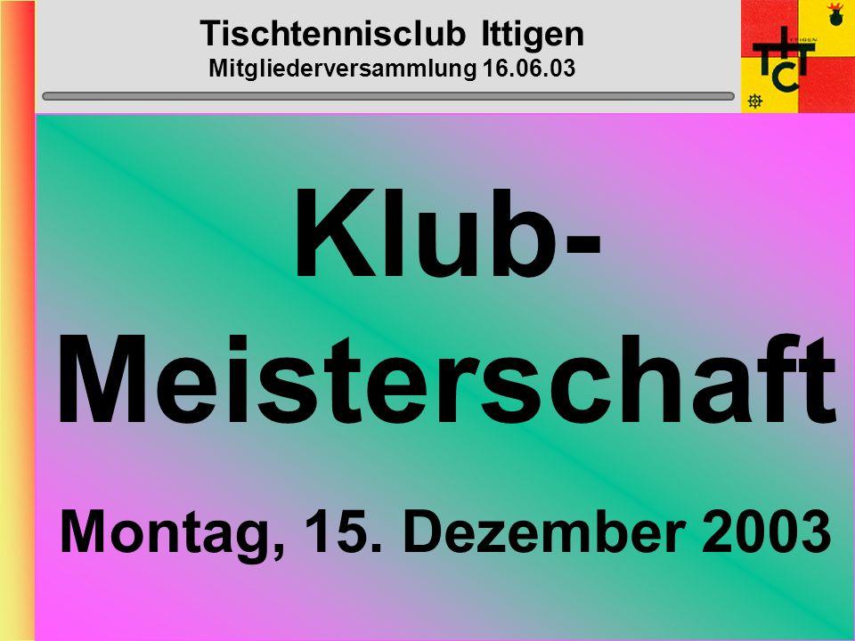 Tischtennisclub Ittigen Mitgliederversammlung 16.06.03 Bowling Donnerstag, 13. November 2003