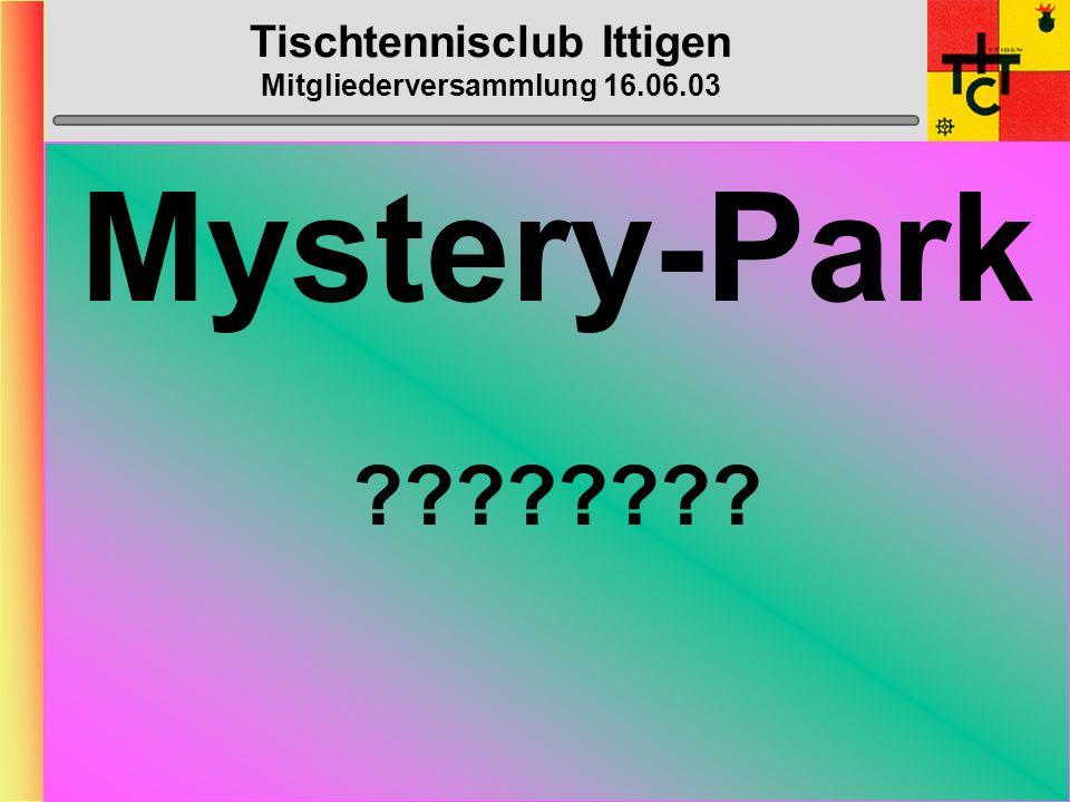 Tischtennisclub Ittigen Mitgliederversammlung 16.06.03 Klub- Meisterschaft Montag, 15.