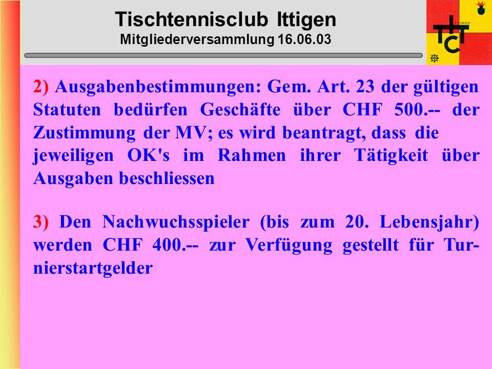 Tischtennisclub Ittigen Mitgliederversammlung 16.06.03 Anträge Vorstand 1) Beim Kauf des Ittiger-Leibchens leistet der TTC Ittigen einen Subventions-Beitrag in der entsprechen- den Höhe, damit das Mitglied (lizenziert) das Leib- chen für CHF 30.-- kaufen kann; für die Anschaffung der Saison 2003/2004 gilt folgende Regelung: - Jedes lizenzierte Mitglied erhält EIN Leibchen gratis - Jedes weitere Leibchen kann für CHF 20.-- bezogen werden