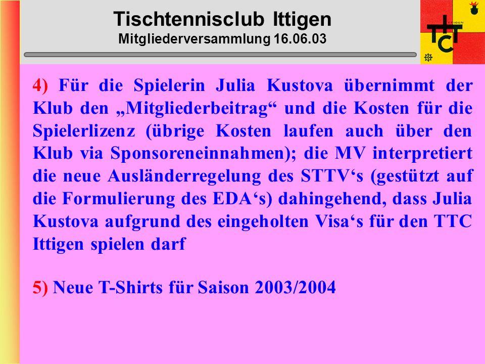 Tischtennisclub Ittigen Mitgliederversammlung 16.06.03 2) Ausgabenbestimmungen: Gem.