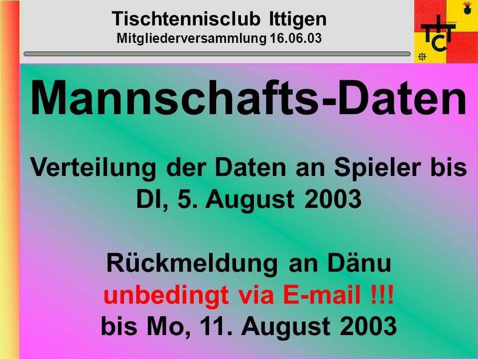 Tischtennisclub Ittigen Mitgliederversammlung 16.06.03 Mannschafts- Fötelis August 2003: 11., 18.