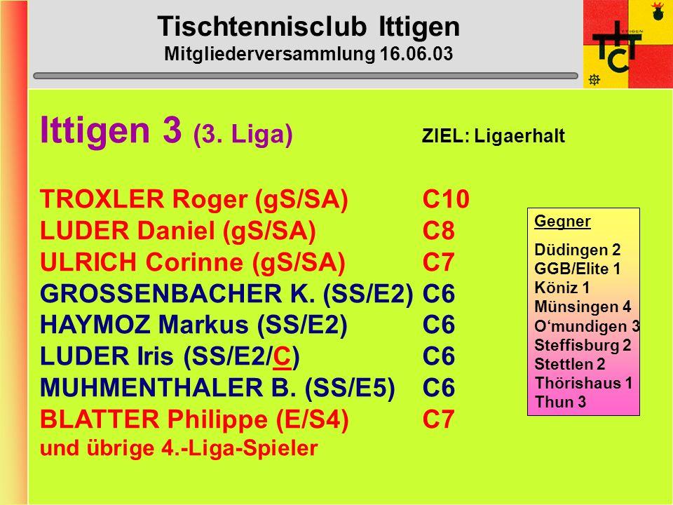 Tischtennisclub Ittigen Mitgliederversammlung 16.06.03 Ittigen 3 (3.