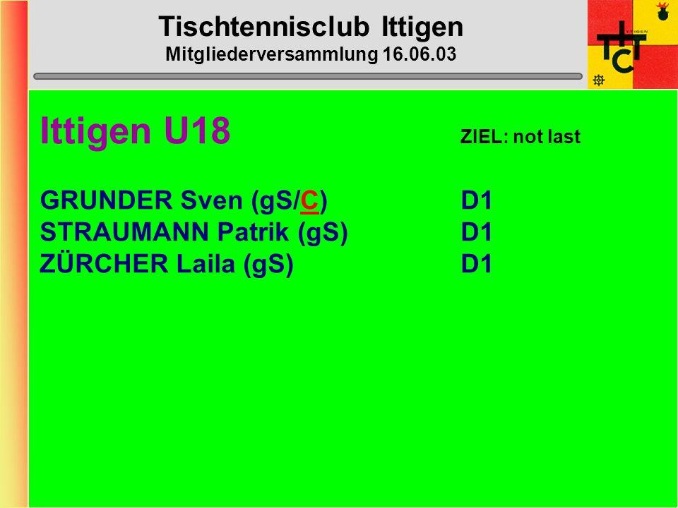 Tischtennisclub Ittigen Mitgliederversammlung 16.06.03 Ittigen O40 (1.